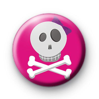 Girly Pink Skull and Crossbones Badge