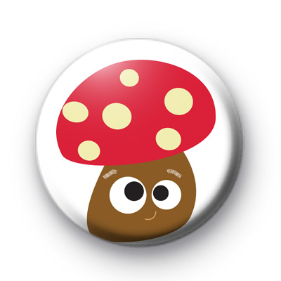 Smiley Mushroom Face Button Badges