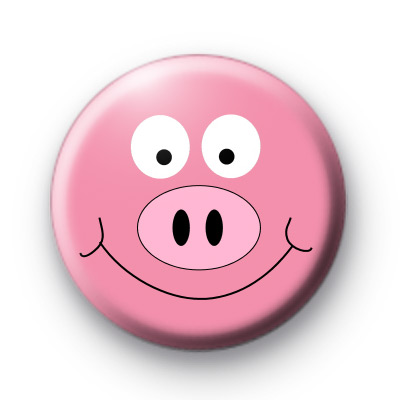 Pink Piggy Face Badge