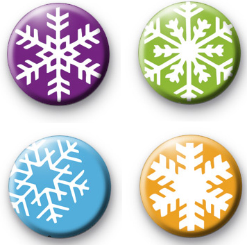 Set of 4 Snowflake Badges