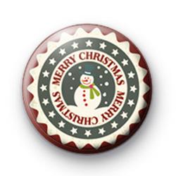 Festive Snowman Merry Christmas Badge