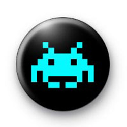 Space Invader (blue) Badges