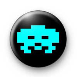 Retro Space Invader Blue Badge