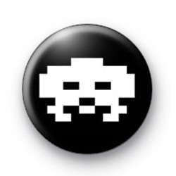 Retro Space Invader White badges