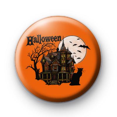 Creepy Haunted House Scene Badge