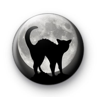 Spooky Black Halloween Cat badge