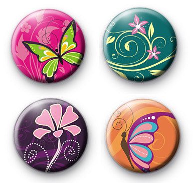 Set of 4 Spring Time Button Badges