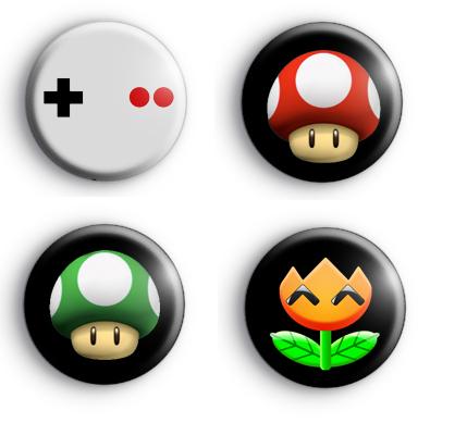 Set of 4 Retro Gamer Badges