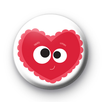 Super Cute Valentines Heart Face Badge