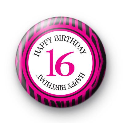 Pink 16 Happy Birthday Badge