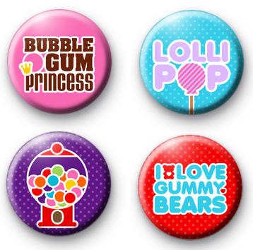 Set of 4 Sweet Shop Badges