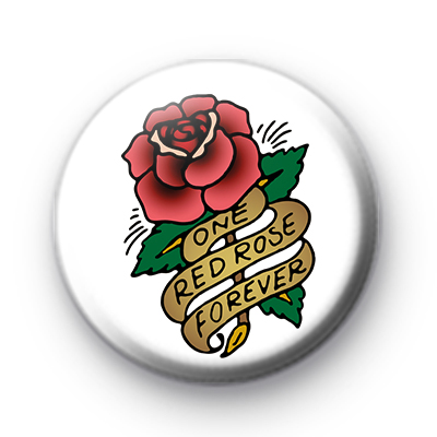 Old School Style Tattoo Red Rose Badge