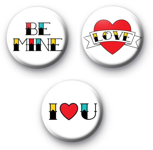 Set of 3 Tattoo Valentines Day Badges