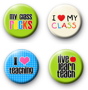 Set of 4 Teachers Button Badges