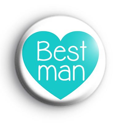 Teal Heart Bestman Badge