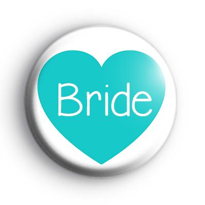 Teal Heart Bride Badge