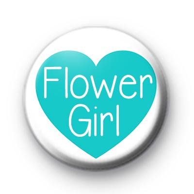Teal Heart Flower Girl Button Badge