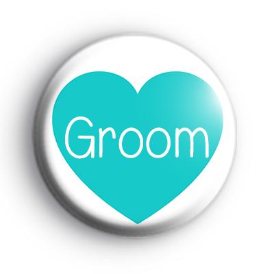 Teal Heart Groom Badge