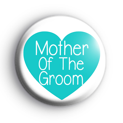 Teal Heart Mother of the Groom Badge