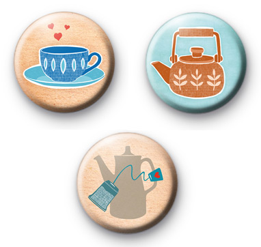 Tea Pot Love Set of 3 Badges