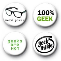 Set of 4 Super Geek Button Badges