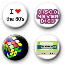 Set of 4 Retro 1980s Button Badges