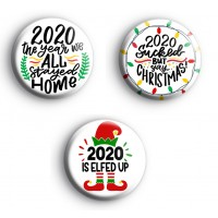 Set of 3 2020 Lockdown Christmas Badges thumbnail