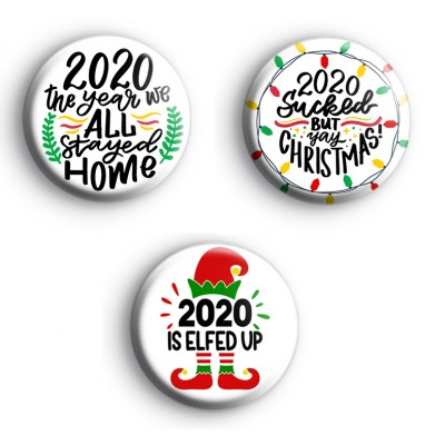 Set of 3 2020 Lockdown Christmas Badges