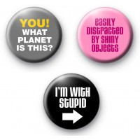 Set of 3 Funny Slogan Badges