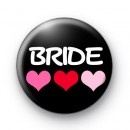 Three Hearts Bride Button Badges
