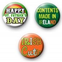 Set of 3 Funny St Patrick's Day Slogan Badges