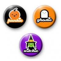 Set of 3 Extra Spooky Cute Halloween Badges