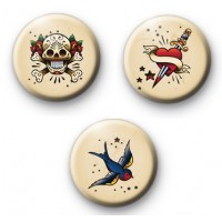 Set of 3 Old School Tattoo Badges
