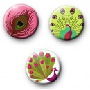 Set of 3 Peacock Bird Button Badges