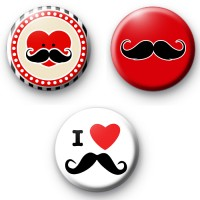 Set of 3 Movember Tash Badges