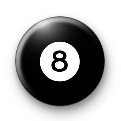 Billiard Ball Birthday Age Number 8 Badge
