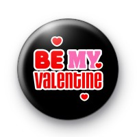 Black Be My Valentine Button Badges thumbnail