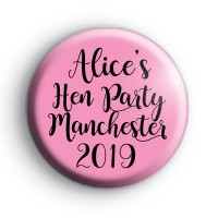 Custom Pink and Black Hen Night Badge