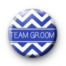 Chevron Blue Team Groom Button Badge