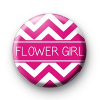Chevron Pink Flower Girl Badge