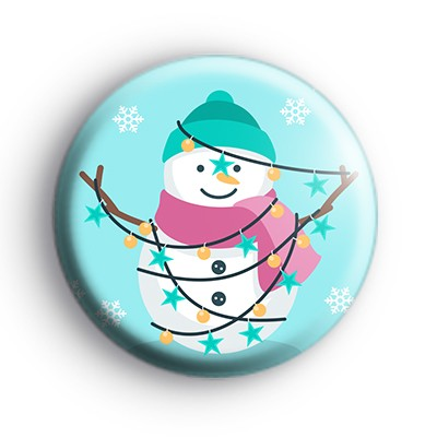Festive Lights Snowman Badge