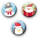 Set of 3 Fun Festive Christmas Character Badges