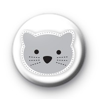 Grey Kitty Cat Button Badge