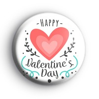 Hearts Happy Valentines Day Slogan Badge thumbnail