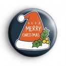 HoHoHo Santa Claus Hat Merry Christmas Badge