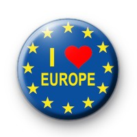 I Love Europe Button Badge