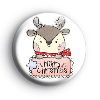 Merry Christmas Reindeer Badge