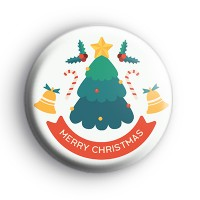 Merry Christmas Tree Button Badge thumbnail