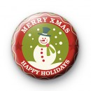 Merry Xmas Snowman Button Badge