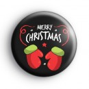 Black Merry Christmas Mittens Badge